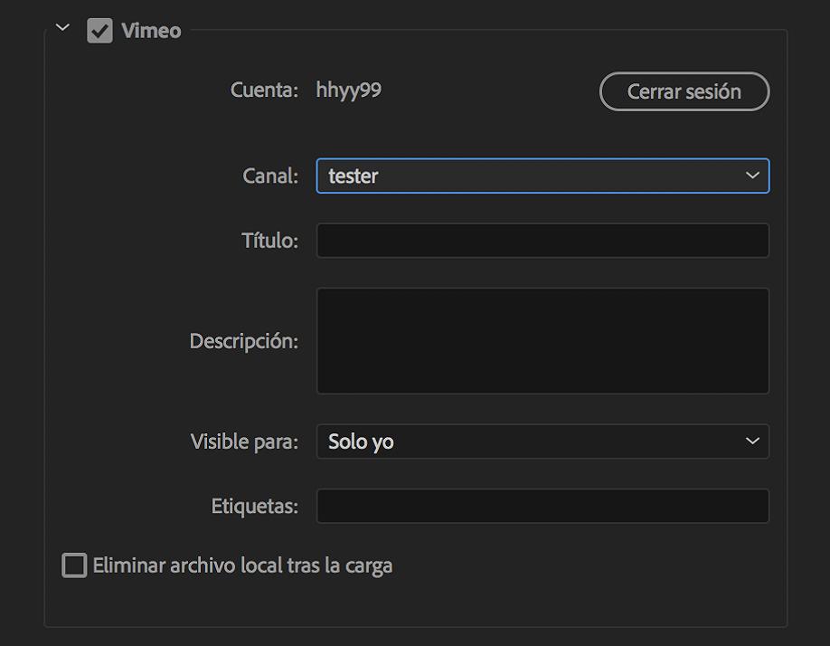 Referencia de ajustes de exportación para Adobe Media Encoder