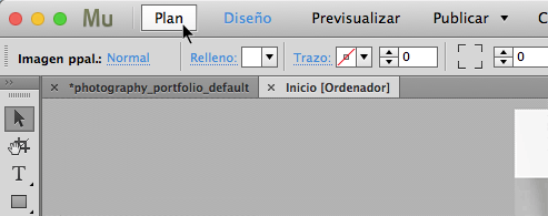 Cambio a la vista Plan de Adobe Muse