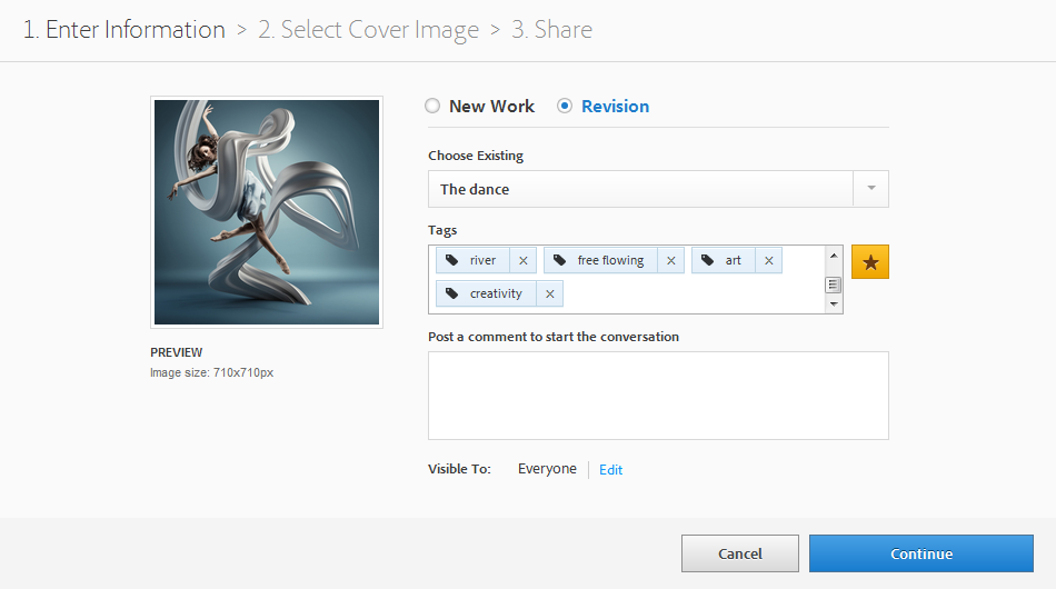 Carga de revisiones en Behance con Photoshop