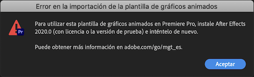 Uso en Premiere Pro de plantillas de gráficos animados creadas en After Effects