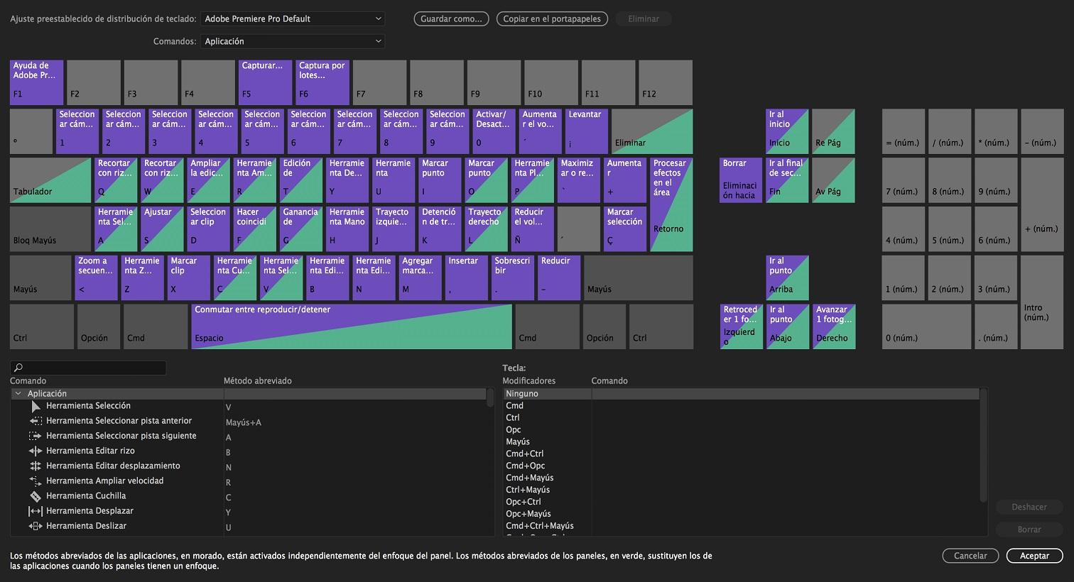 Ajustes preestablecidos y métodos abreviados de teclado ...