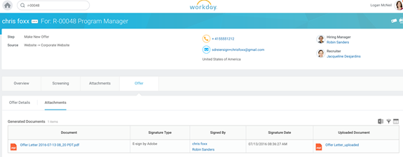 Ejemplo de carta de oferta de Workday