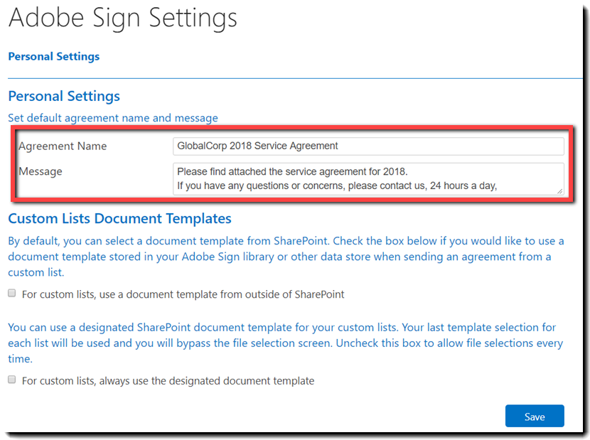 Pagina Adobe Sign Settings