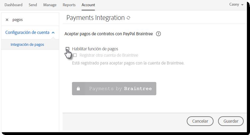 Pagos en línea de Adobe Sign