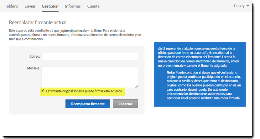 2. Replace Signer page - Sender Options