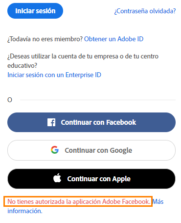 Resuelva Errores Que Pueden Producirse Al Iniciar Sesion En Una Cuenta De Adobe Con Facebook Google O Apple Inicio De Sesion En Redes Sociales Es difícil imaginar cómo la vida será sin facebook. resuelva errores que pueden producirse