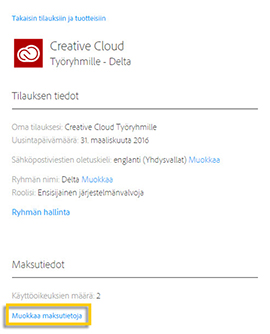 Creative Cloud for teams ‑jäsenyys