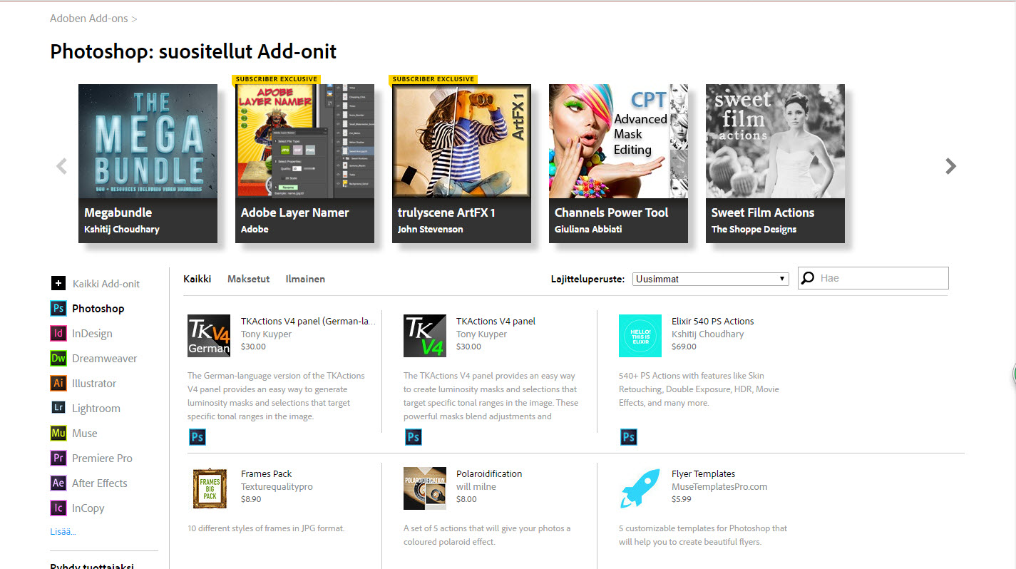 Adobe Add-ons -sivu