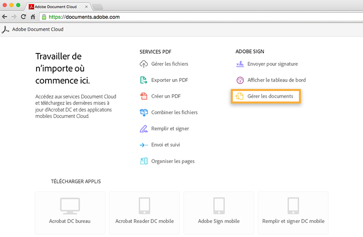 Ouverture de la page Gérer les documents d'Adobe Document Cloud