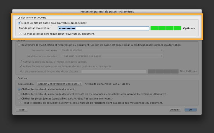 Protection des documents par mot de passe
