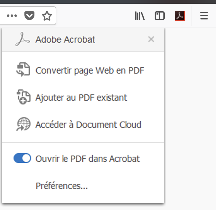 Options Créer un fichier PDF