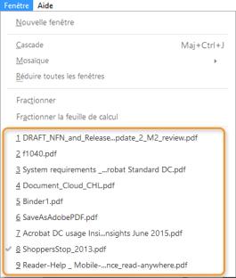 Sélectionnez un nom de fichier dans le menu Fenêtre.
