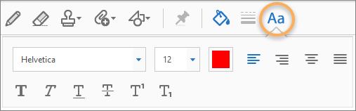 Les outils de mise en forme de texte s'affichent automatiquement pour la machine à écrire et les outils de création de zone de texte.