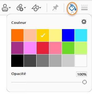 Sélecteur de couleurs dans la barre d'outils Commentaire