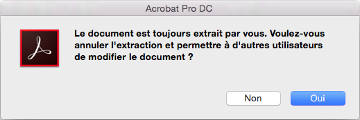Invite pour annuler l'extraction