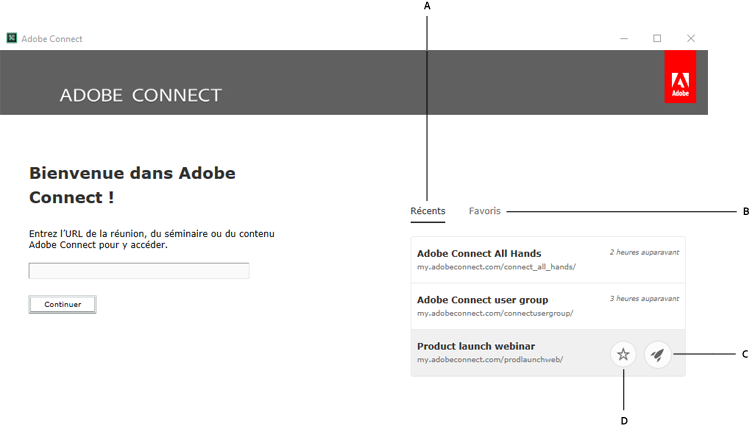 Écran de bienvenue de l'application Adobe Connect
