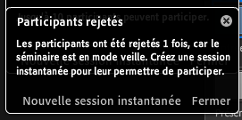 La notification indique le nombre de participants refusés.