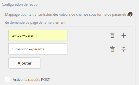 Configuration de l'action Envoyer vers le point de fin REST