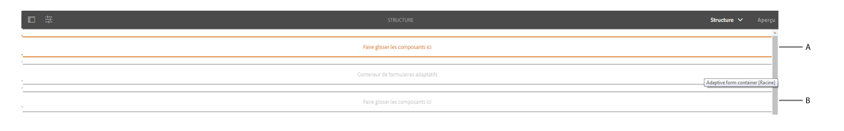 Conteneur de dispositions dans le calque de structure