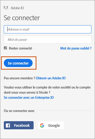 Connexion à Adobe Document Cloud