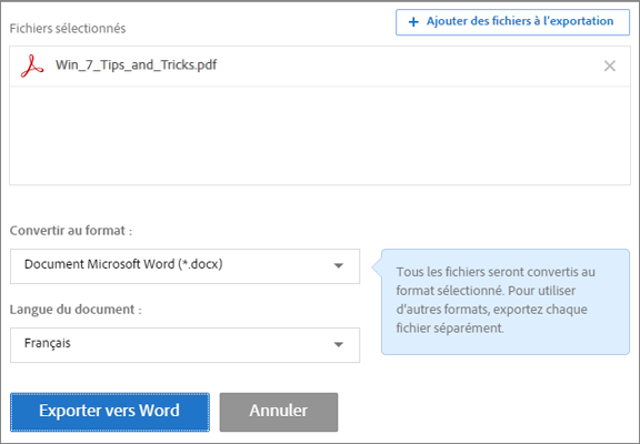 Interface Web de la fonction Exporter un fichier PDF