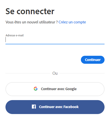 Connexion à l'application de bureau Creative Cloud