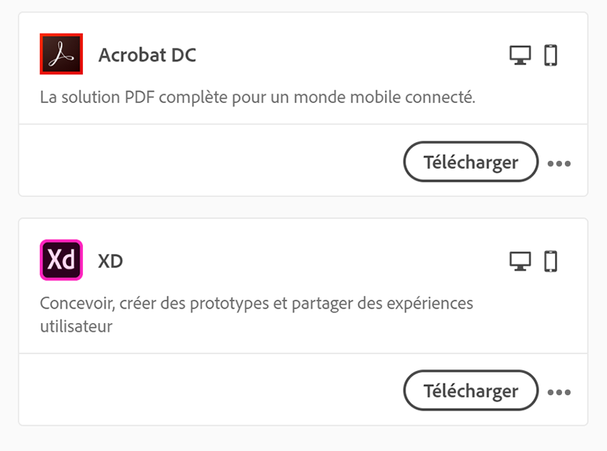 Télécharger une application Creative Cloud