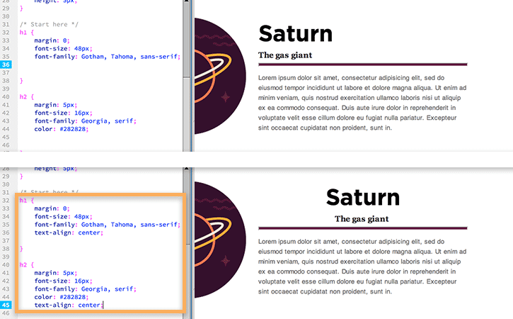 Modification de l'alignement du texte