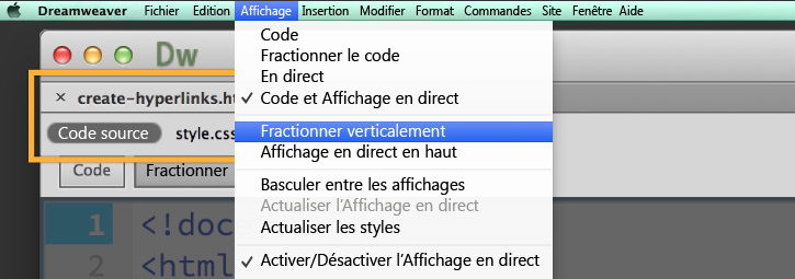 Ouverture du fichier create-hyperlinks.html