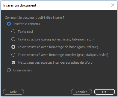 Faites glisser un document Word ou Excel dans Dreamweaver
