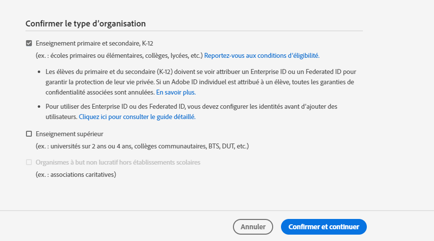 Confirmer le type d'organisation