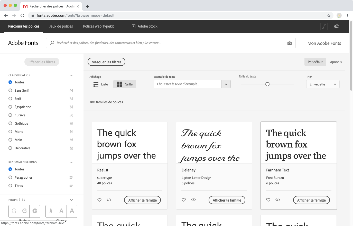 Basculement entre les collections de polices sur fonts.adobe.com