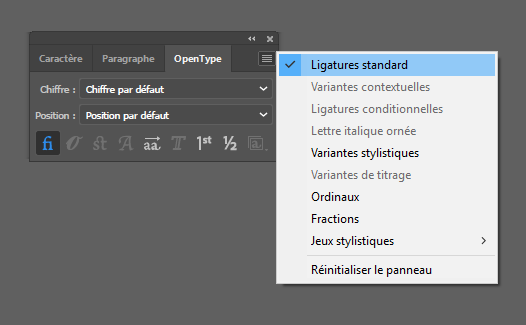 Activation automatique des ligatures