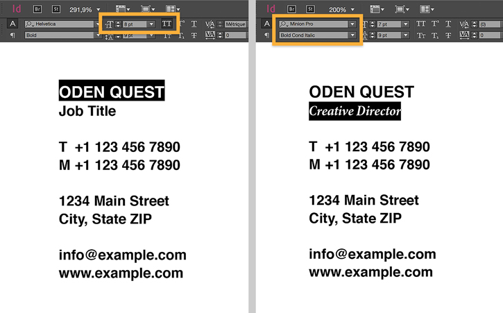 5446 Business Card Design Step 4