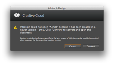Message de Creative Cloud