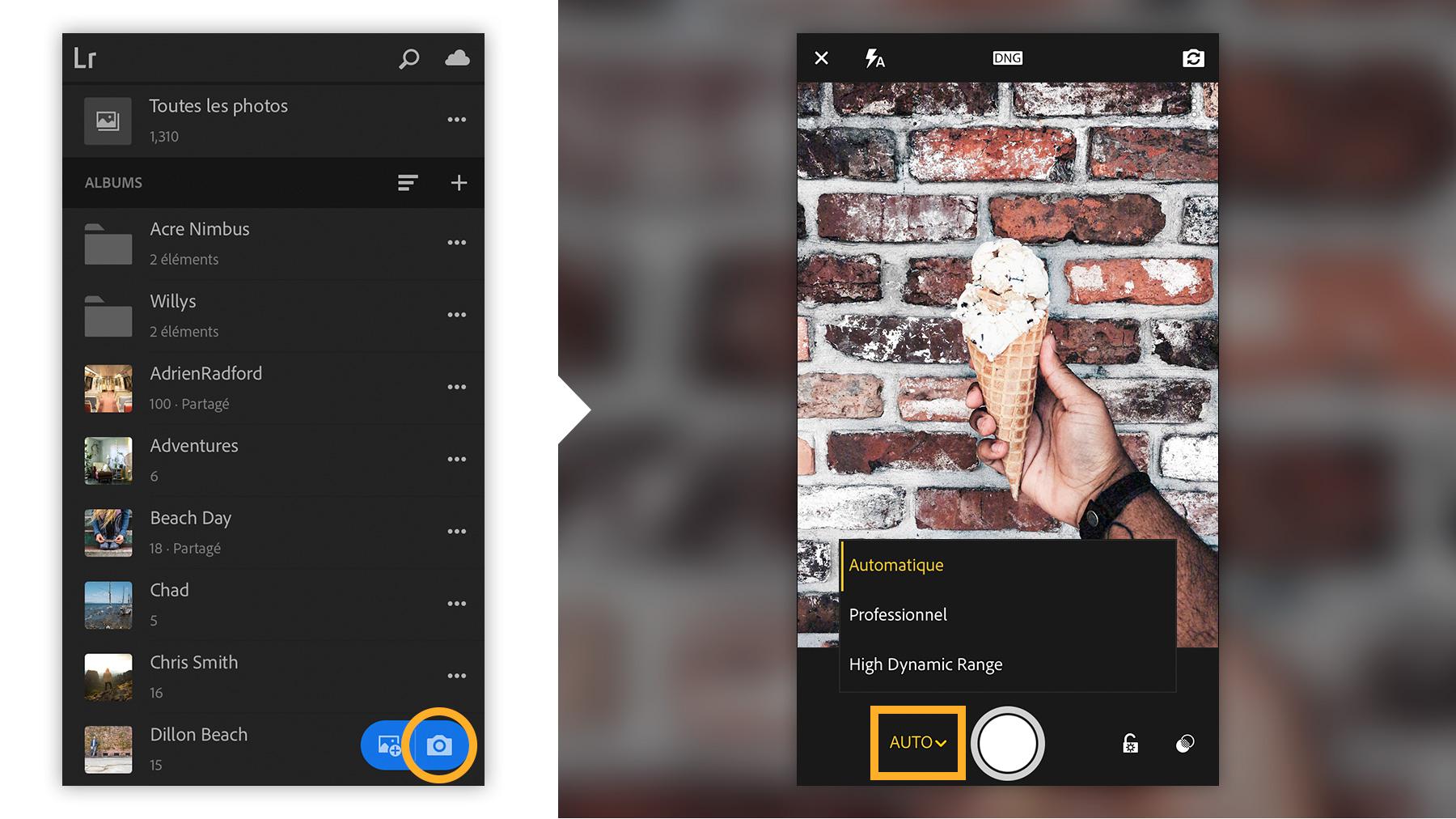 Capture d'une photo avec l'appareil intégré à l'application
