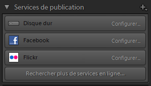 Panneau Services de publication de Lightroom Classic CC