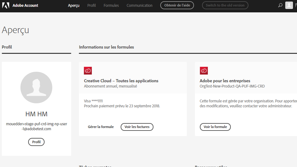 Page Compte Adobe