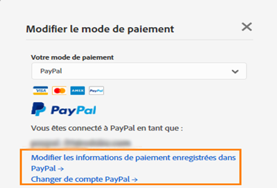 Modification du mode de paiement