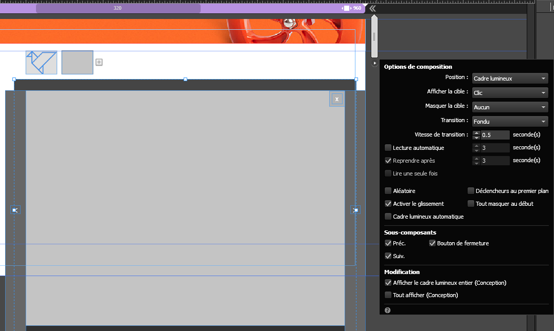 Configuration des widgets de composition en utilisant le menu Options