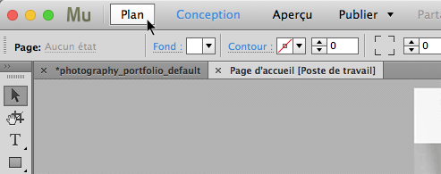 Activation du mode Plan dans Adobe Muse