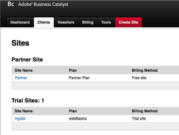 Tableau de bord de Business Catalyst