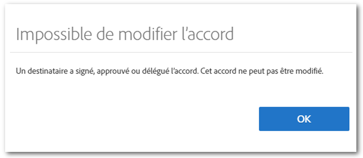 Message « Impossible de modifier l'accord »