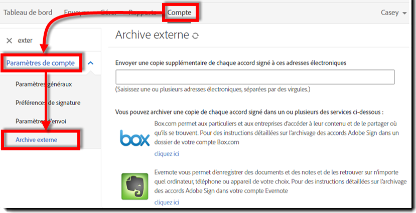 Page Archive externe