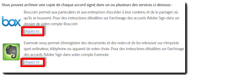 Options d'intégration de l'archive