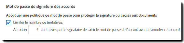 Mot de passe de signature des accords