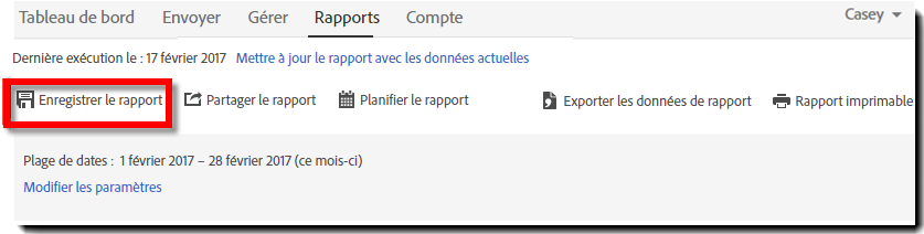 Option de page du rapport — Enregistrer le rapport