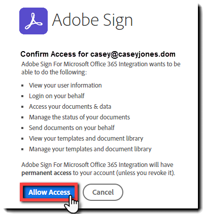 OWA Vérification auth. vers Adobe Sign