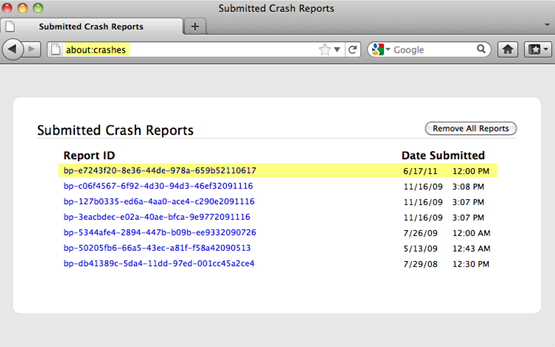 Firefox about:crashes