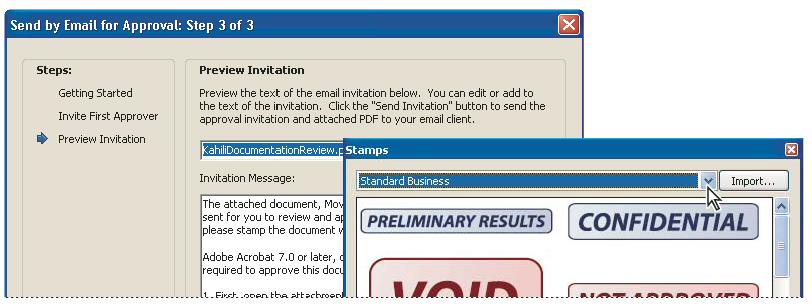 Approval workflows, Adobe Acrobat